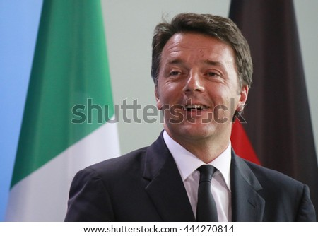 JUNE 27, 2016 - BERLIN: Italian Prime Minister Matteo Renzi at a press conference before a meeting with the German Chancellor and the French President after the Brexit Vote in the Chanclery.