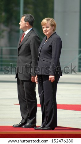 JUNE 14, 2006 - BERLIN: Romano Prodi, Angela Merkel - meeting of the Italian Prime Minister with the German Chancellor in the Chanclery in Berlin.
