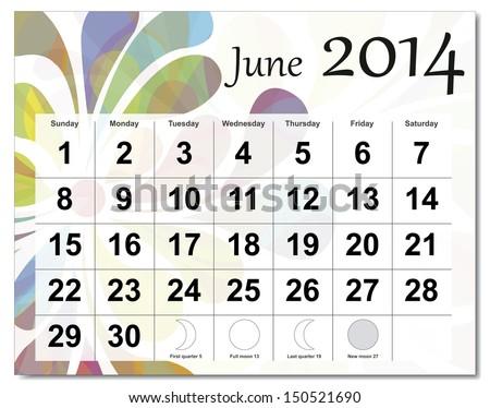 June 2014 calendar.  - stock photo