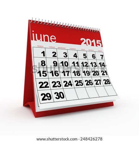June 2015 calendar - stock photo