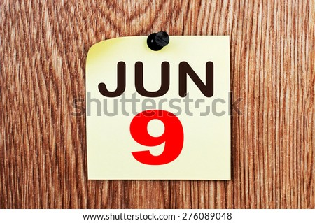 June 9 Calendar. Part of a set - stock photo