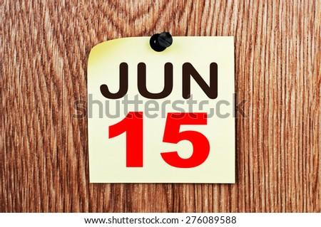 June 15 Calendar. Part of a set - stock photo