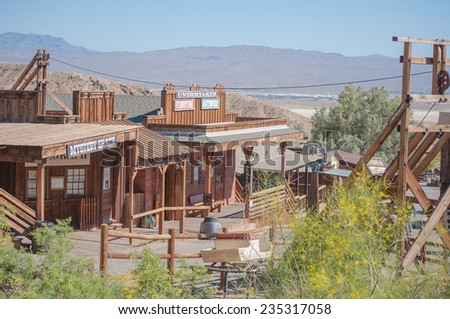 JUNE 22. 2010- Calico, CA:Calico is a ghost town  in San Bernardino County, California, United States. Was founded in 1881 as a silver mining town, and today has been converted into a county park. - stock photo