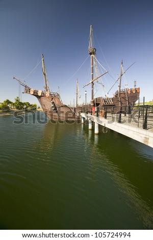 JUNE 2006 - Full size replicas of Christopher Columbus' ships, the Santa Maria, the Pinta or the Ni�a at Muelle de las Carabelas, - stock photo