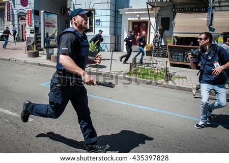 June 12, 2016. Kyiv, Ukraine. Radical activists tried to disrupt the of LGBT march Kyivpride 2016. Police arrested part of activists.