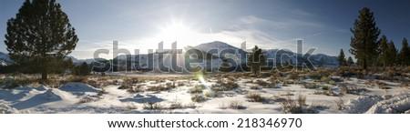 June Lake Road in winter panorama, June Lake, California - stock photo