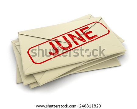 june letters  (clipping path included)
