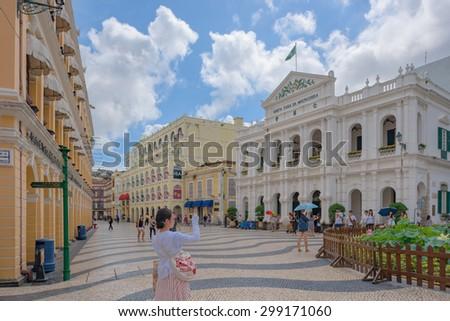 June 27, 2015 Macau, China Macau city landscape Macau, China.The Historic Center - stock photo