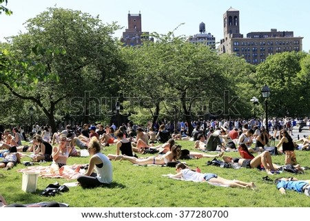June 7, 2015 - New York City, New York, USA:  Sunday afternoon relaxation in Washington Square Park.