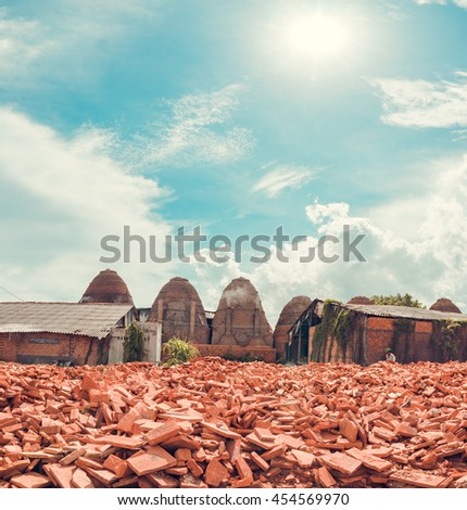 June 22: Scene from a brick works in the Mekong delta on June 22, 2016 near Vinh Long. The Mekong delta has become popular among tourists wishing to experience rural Vietnam.