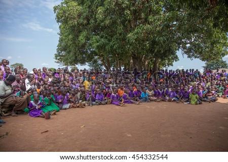 June 23, 2016: Soroti, Uganda. School children and teachers gather for an assembly - stock photo