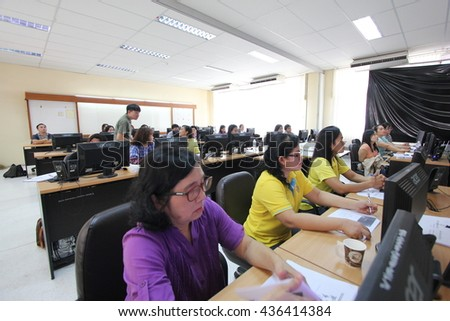 June 11, 2016 : Teachers study with video production for developing teaching materials. At Bangkok Training Center School, Bangkok, Thailand.