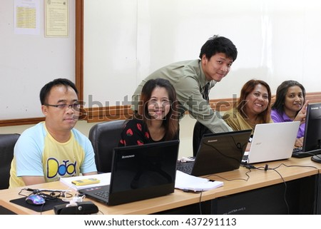 June 12, 2016 : Teachers study with video production for developing teaching materials for their students. At Bangkok Training Center School, Bangkok, Thailand.