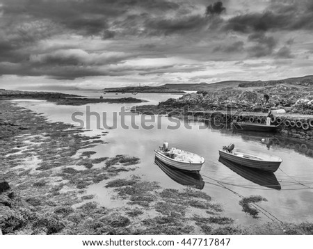 June 30th 2016. Croig Harbour, Devaig, Isle of Mull, Scotland, UK. Small fishing boats moored at Croig Harbour, Isle of Mull, Scotland, UK