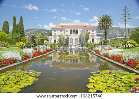 JUNE 2004 - The Gardens and Villa Ephrussi de Rothschild, Saint-Jean-Cap-Ferrat, France - stock photo