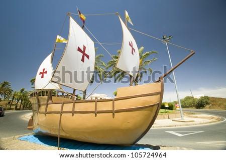 JUNE 2006 - The model of the Santa Maria sailing ship, used by Christopher Columbus in 1492, Palos de la Frontera (Espa�a), Spain - stock photo