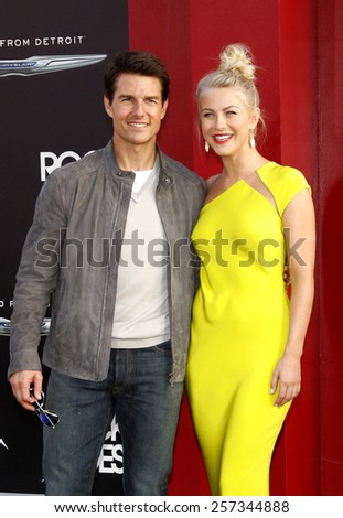 "June 8, 2012. Tom Cruise and Julianne Hough at the Los Angeles premiere of ""Rock of Ages"" held at the Grauman's Chinese Theater, Los Angeles.  - stock photo"