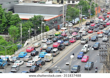 June 8, 2013, traffic jams on the roads in the capital, Bangkok, Thailand. June 8, 2013. Bangkok is the most crowded city in Thailand.