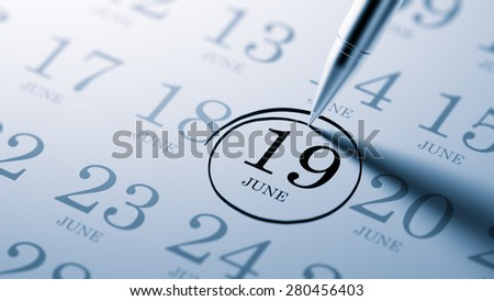 June 19 written on a calendar to remind you an important appointment.