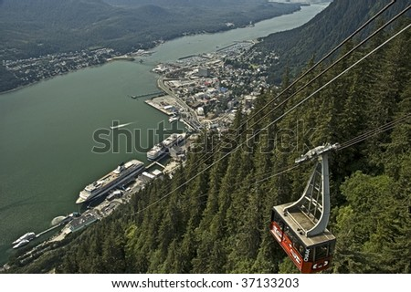 Juneau Alaska from Mt. Roberts with tramway. - stock photo