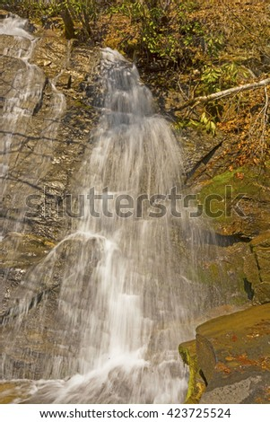 Juney Whank Falls in the Great Smoky Mountains - stock photo