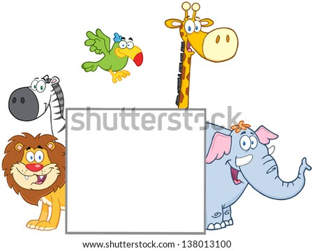 Jungle Animals Behind A Blank Sign. Raster Illustration - stock photo