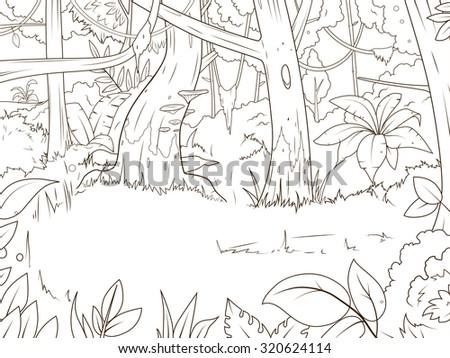 Jungle forest cartoon coloring book raster version, cartoon, tree - stock photo