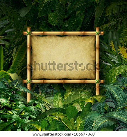 Jungle sign blank billboard concept as a bamboo banner in a tropical plant forest full of green vegetation as a symbol of nature communication or environmental advertising. - stock photo