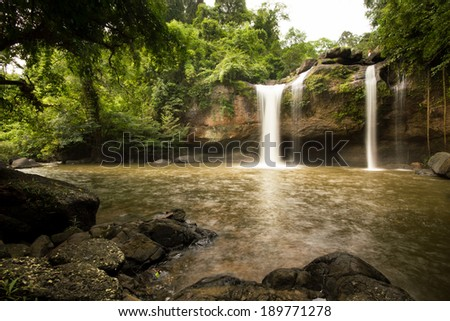 Jungle waterfall in rural Thailand - stock photo