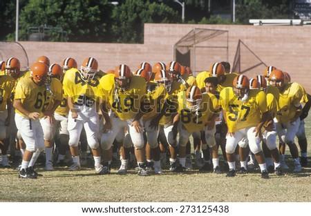 Junior League Football practice, Beverly Hills High School, Los Angeles, CA - stock photo