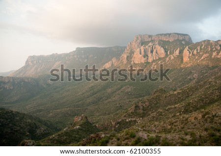 juniper canyon in the Chisos Mountains on Lost Mine Trail - stock photo