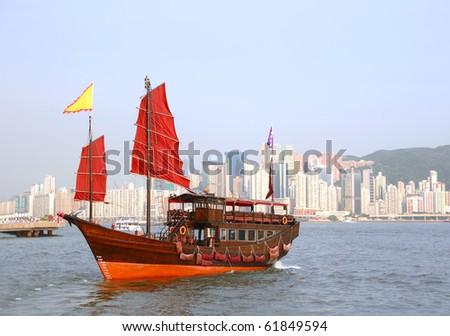 junk boat in Hong Kong - stock photo