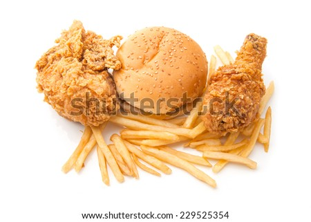 Junk food isolated on white background - stock photo