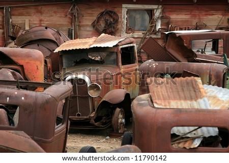 Junk Yard of Vintage Cars - stock photo