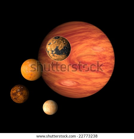Jupiter and it's moons - stock photo