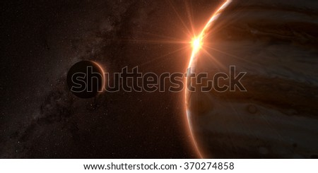 jupiter and moon europa with beautiful sunset. Check my gallery for other sunsets and sunrises in space. Elements of this image furnished by NASA - stock photo