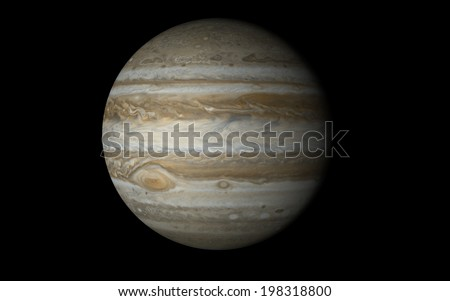 Jupiter isolated in black 'Elements of this image furnished by NASA' - stock photo