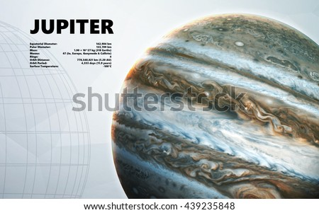 Jupiter. Minimalistic style set of planets in the solar system. Elements of this image furnished by NASA - stock photo
