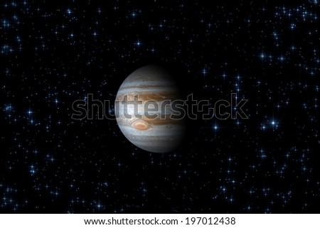Jupiter on a dark starry sky. Elements of this image furnished by NASA. - stock photo