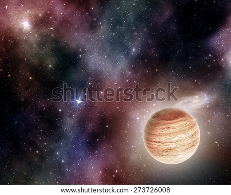 jupiter on background of stars and cosmic gas   - stock photo