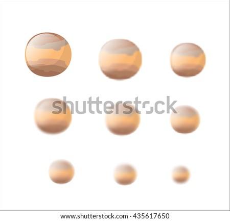 Jupiter. Planet Jupiter isolated. Set planet Jupiter with varying degrees of blur. blur effect Jupiter. Astronomical star. Cosmic planet - stock photo