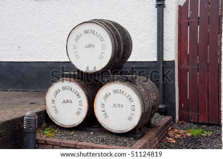 Jura distillery whisky barrels - stock photo