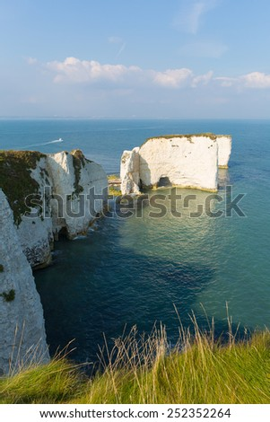 Jurassic Coast Dorset England UK Old Harry Rocks chalk formations including a stack and a stump at Handfast Point Isle of Purbeck  - stock photo