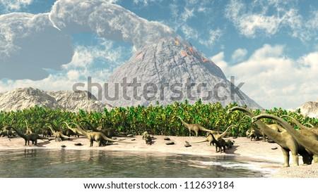 Jurassic park volcano - stock photo
