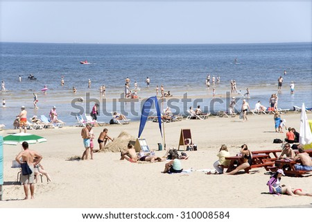 Jurmala, Latvia - August 15, 2015: Rest  on a beach in the resort of world value.
