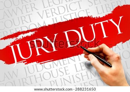 Jury Duty word cloud concept - stock photo
