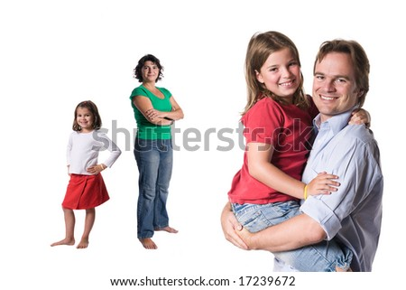 Just a happy family. Full isolated studio picture