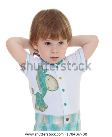 just a little boy who came with her mother to be photographed in the studio. Isolated on white foney - stock photo