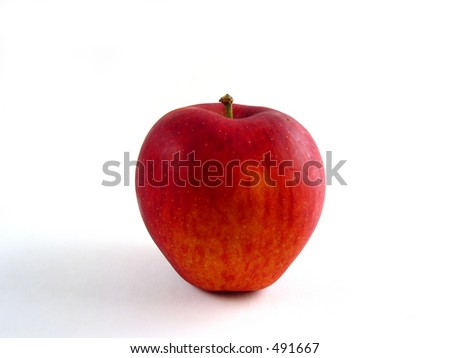 Just a red apple on white background