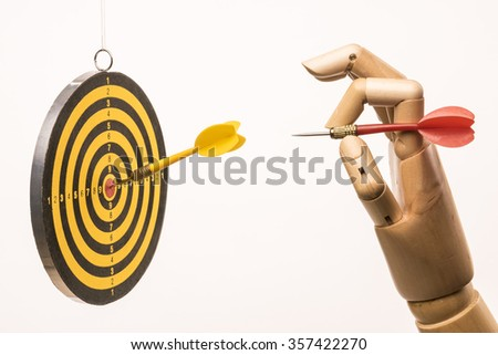 Just aim the target and darts, the marketing metaphor. On white background. - stock photo